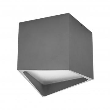 Потолочный светодиодный светильник Lightstar Quadro 211479, IP55, LED 12W 3000K 960lm, серый, металл
