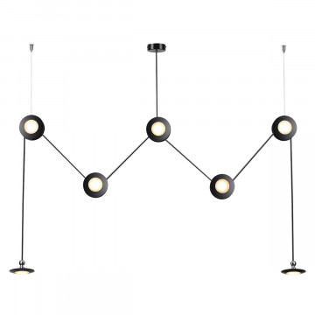 Подвесной светодиодный светильник Odeon Light Uliss 3811/84L, LED 84W, 3000K (теплый), черный, металл, пластик