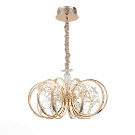 Подвесная светодиодная люстра ST Luce Ottavo SL923.203.12 4000K (дневной), золото, прозрачный, белый, металл, хрусталь, пластик
