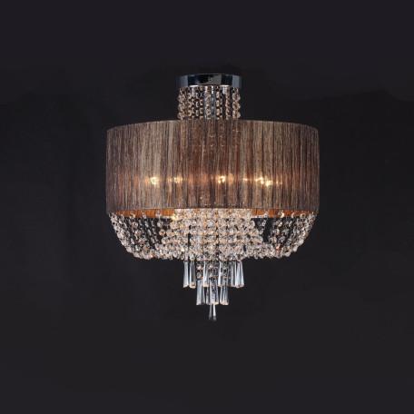 Потолочная люстра ST Luce Representa SL892.702.08, 8xE14x40W, хром, коричневый, прозрачный, металл, текстиль, хрусталь
