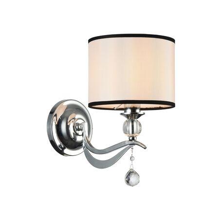 Бра Maytoni Terra MOD269-WL-01-CH, 1xE14x40W, хром, белый, черно-белый, прозрачный, металл со стеклом, текстиль, стекло