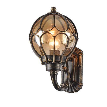 Настенный фонарь Maytoni Champs Elysees S110-26-01-R, IP44, 1xE27x100W, черный с золотой патиной, янтарь, металл, металл со стеклом