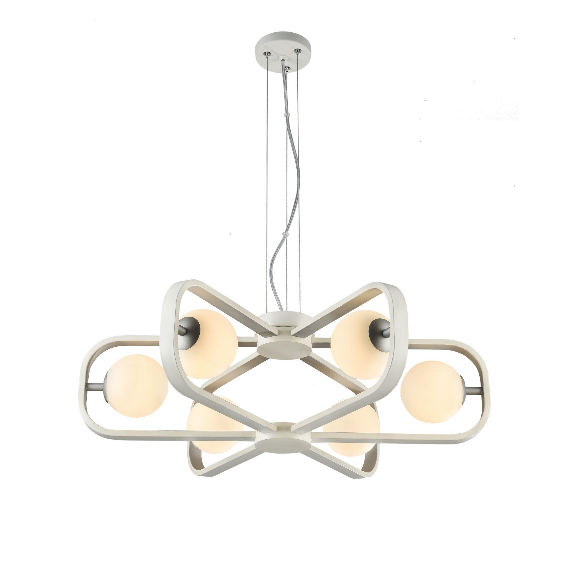 Подвесная люстра Maytoni Avola MOD431-PL-06-WS, 6xG9x40W, белый, серебро, металл, стекло - фото 2