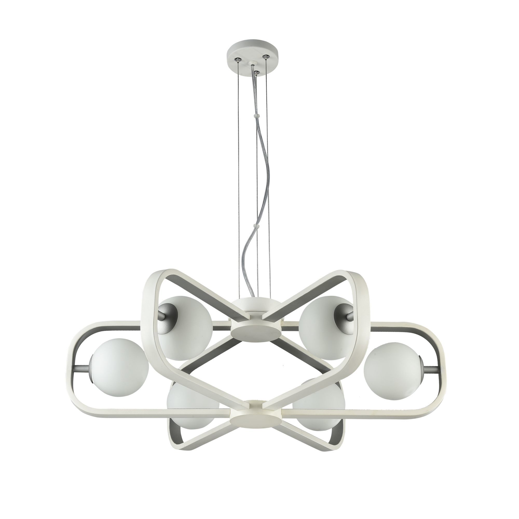 Подвесная люстра Maytoni Avola MOD431-PL-06-WS, 6xG9x40W, белый, серебро, металл, стекло - фото 3