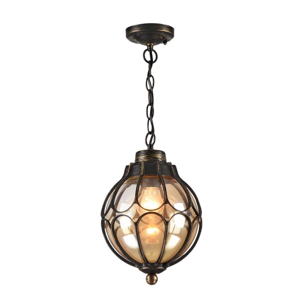 Подвесной светильник Maytoni Champs Elysees S110-35-01-R, IP44, 1xE27x100W, черный с золотой патиной, янтарь, металл, металл со стеклом - фото 1