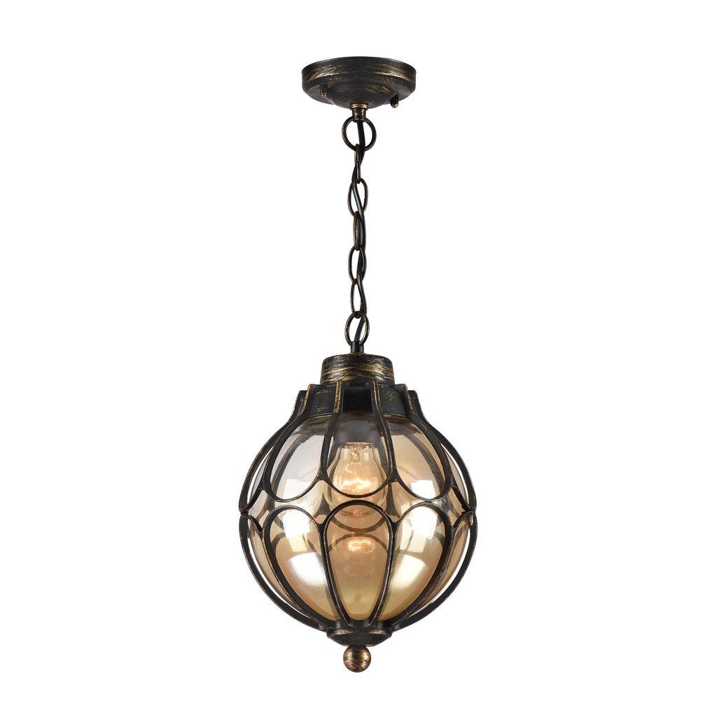 Подвесной светильник Maytoni Champs Elysees S110-35-01-R, IP44, 1xE27x100W, черный с золотой патиной, янтарь, металл, металл со стеклом - фото 2