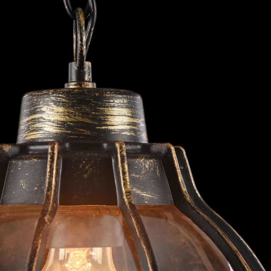 Подвесной светильник Maytoni Champs Elysees S110-35-01-R, IP44, 1xE27x100W, черный с золотой патиной, янтарь, металл, металл со стеклом - фото 7