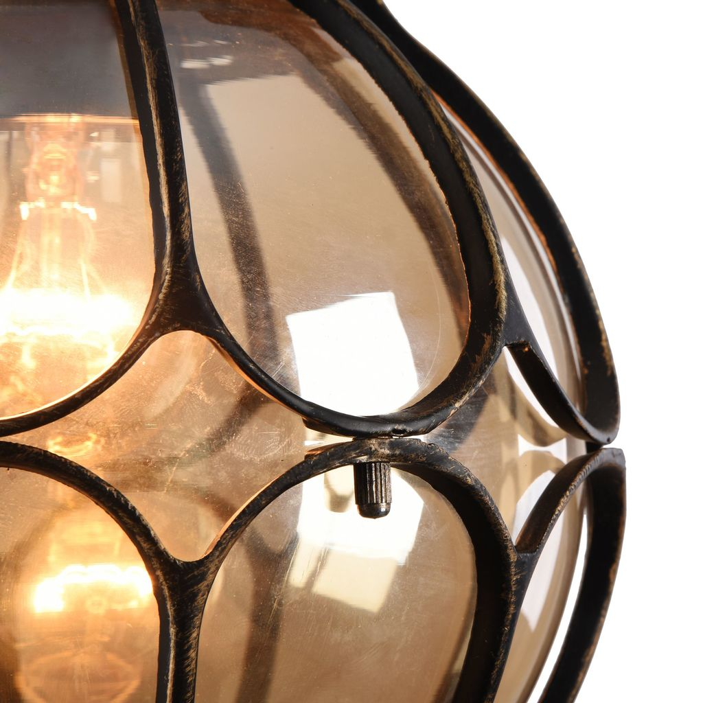 Подвесной светильник Maytoni Champs Elysees S110-35-01-R, IP44, 1xE27x100W, черный с золотой патиной, янтарь, металл, металл со стеклом - фото 8