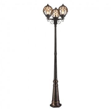 Уличный фонарь Maytoni Champs Elysees S110-22-03-R, IP44, 3xE27x100W, черный с золотой патиной, янтарь, металл, стекло