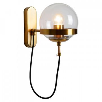 Бра Lussole Loft Anchorage LSP-9555, IP21, 1xE27x60W, бронза, прозрачный, металл, стекло