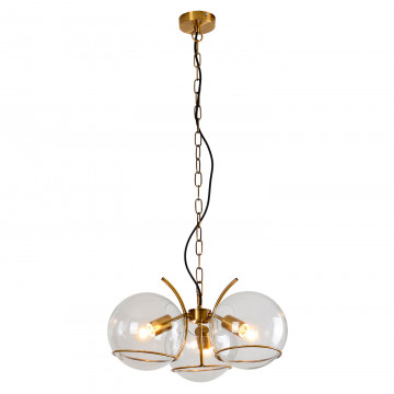 Подвесная люстра Lussole Loft Anchorage LSP-9556, IP21, 3xE27x60W, бронза, прозрачный, металл, стекло