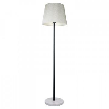 Торшер Lussole LGO Marble LSP-9547, IP21, 1xE27x60W, черный, черно-белый, белый, металл, мрамор, текстиль