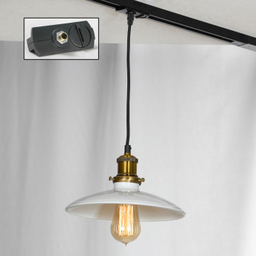 Подвесной светильник для шинной системы Lussole Loft Glen Cove LSP-9605-TAB, IP21, 1xE27x60W, бронза, белый, металл