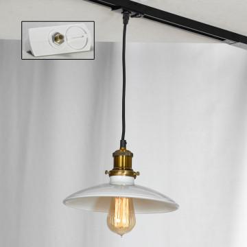 Подвесной светильник для шинной системы Lussole Loft Glen Cove LSP-9605-TAW, IP21, 1xE27x60W, бронза, белый, металл