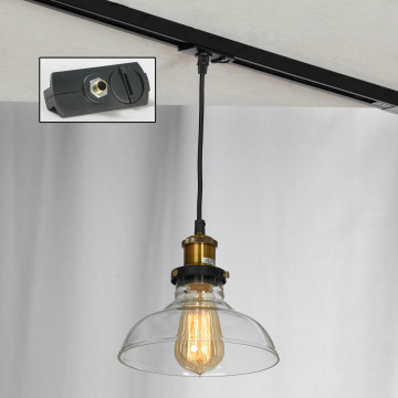 Подвесной светильник для шинной системы Lussole Loft Glen Cove LSP-9606-TAB, IP21, 1xE27x60W, бронза, прозрачный, металл, стекло