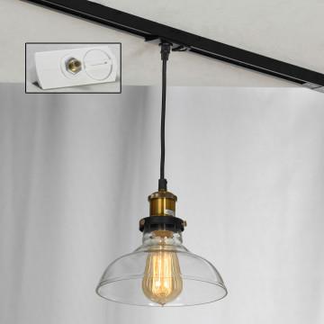 Подвесной светильник для шинной системы Lussole Loft Glen Cove LSP-9606-TAW, IP21, 1xE27x60W, бронза, прозрачный, металл, стекло