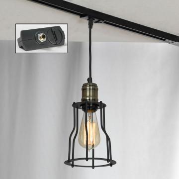 Подвесной светильник для шинной системы Lussole Loft Baldwin LSP-9610-TAB, IP21, 1xE27x60W, бронза, черный, металл