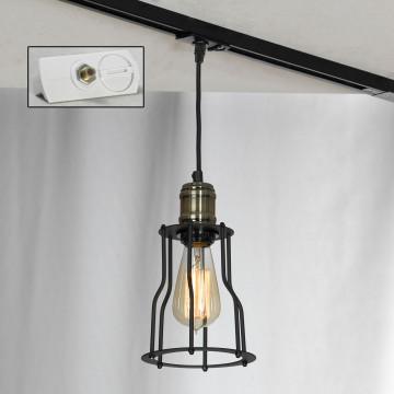 Подвесной светильник для шинной системы Lussole Loft Baldwin LSP-9610-TAW, IP21, 1xE27x60W, бронза, черный, металл