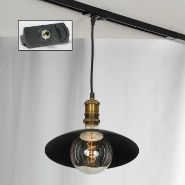 Подвесной светильник для шинной системы Lussole Loft Baldwin LSP-9670-TAB, IP21, 1xE27x60W, бронза, черный, металл