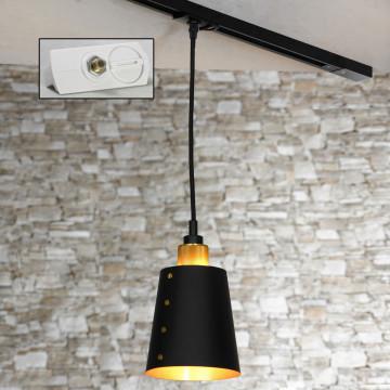 Подвесной светильник для шинной системы Lussole Loft Shirley LSP-9861-TAW, IP21, 1xE27x60W, матовое золото, черный, металл