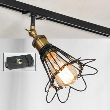 Светильник с регулировкой направления света для шинной системы Lussole Loft Centereach LSP-9109-TAB, IP21, 1xE27x60W, бронза, черный, металл