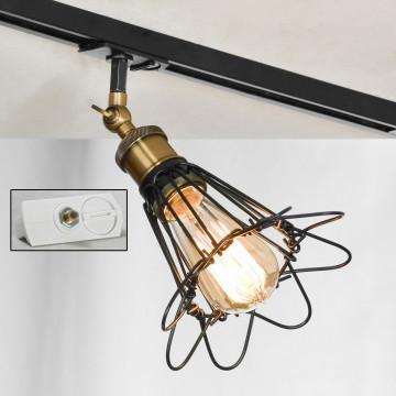Светильник для шинной системы Lussole Loft Centereach LSP-9109-TAW, IP21, 1xE27x60W, бронза, черный, металл