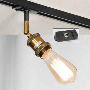 Светильник с регулировкой направления света для шинной системы Lussole Loft Centereach LSP-9320-TAB, IP21, 1xE27x60W, бронза, металл