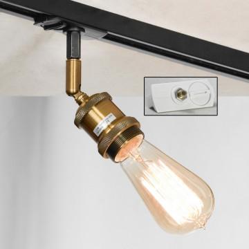 Светильник с регулировкой направления света для шинной системы Lussole Loft Centereach LSP-9320-TAW, IP21, 1xE27x60W, бронза, металл
