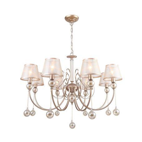 Подвесная люстра Favourite Teneritas 2553-8P, 8xE14x40W, матовое золото, бежевый, янтарь, металл со стеклом, текстиль, стекло
