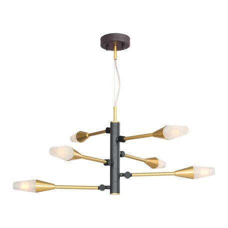 Подвесная светодиодная люстра Favourite Incognita 2565-6P, LED 18W 4000K 1440lm, серый, матовое золото, белый, металл, стекло