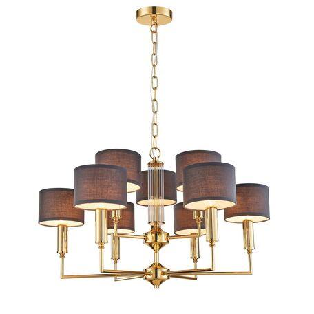 Подвесная люстра Favourite Laciness 2609-9P, 9xE14x40W, золото, серый, металл со стеклом, текстиль