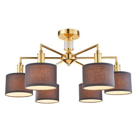 Потолочная люстра Favourite Laciness 2612-6P, 6xE14x40W, золото, серый, металл со стеклом, текстиль