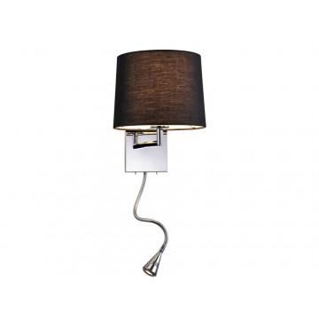 Бра с дополнительной подсветкой Newport 14102/A LED black (М0052652), 1xE27x60W + LED 1W, хром, черный, металл, текстиль