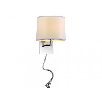 Бра с дополнительной подсветкой Newport 14102/A LED white (М0052651), 1xE27x60W + LED 1W, хром, белый, металл, текстиль
