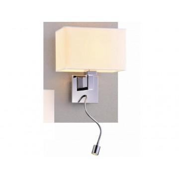 Бра с дополнительной подсветкой Newport 14202/A LED white (М0052655), 1xE27x60W + LED 1W, хром, белый, металл, текстиль