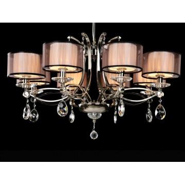 Основание подвесной люстры Newport 1600 1608/C без абажуров (М0055897), 8xE14x60W, никель, прозрачный, металл, хрусталь