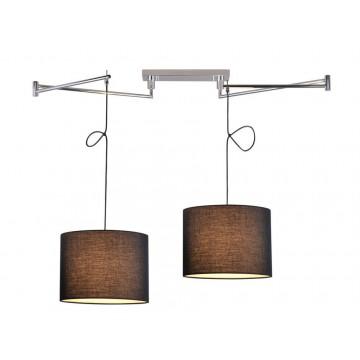 Подвесной светильник Newport 14302/S black (М0052658), 2xE27x60W, хром, черный, металл, текстиль