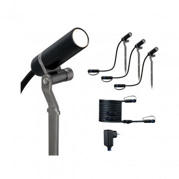 Светодиодный прожектор с колышком Paulmann Plug & Shine Spot Plantini Set 94154, IP65, LED 2,5W, черный, металл