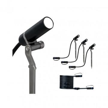 Светодиодный прожектор с колышком Paulmann Plug & Shine Spot Plantini Extencion Set 94157, IP65, LED, черный