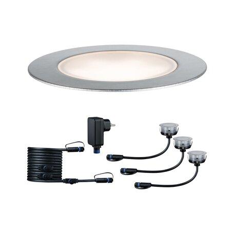 Встраиваемый в уличное покрытие светодиодный светильник Paulmann Plug&Shine Floor Set 93692, IP65, LED 1,3W, серебро, металл