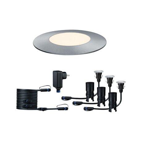 Встраиваемый в уличное покрытие светодиодный светильник Paulmann Plug & Shine Floor Mini Set 93697, IP65, LED 2,5W, серебро, металл