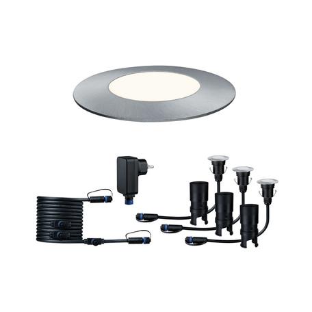 Встраиваемый в уличное покрытие светодиодный светильник Paulmann Plug & Shine Floor Mini Set 93698, IP65, LED 2,5W, серебро, металл
