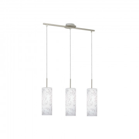 Подвесной светильник Eglo Amadora 90048, 3xE27x60W, никель, белый, металл, стекло