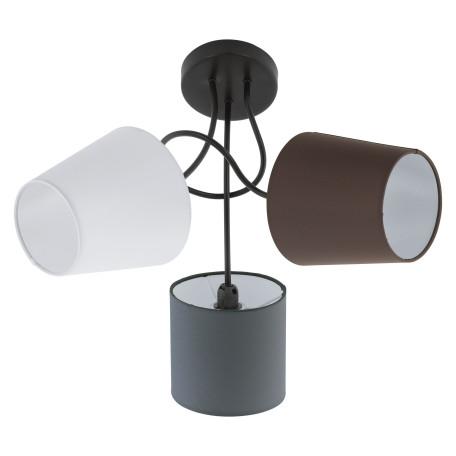 Потолочная люстра Eglo Almeida 95192, 3xE14x40W, черный, серый, коричневый, металл, текстиль