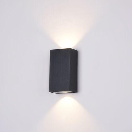Настенный светодиодный светильник Maytoni Times Square O581WL-L6B, IP54, LED 6W 3000K 480lm, черный, металл