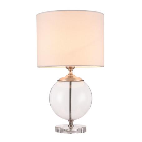 Настольная лампа Maytoni Lowell Z533TL-01N, 1xE27x40W, никель с прозрачным, прозрачный с никелем, бежевый, стекло с металлом, текстиль - миниатюра 2