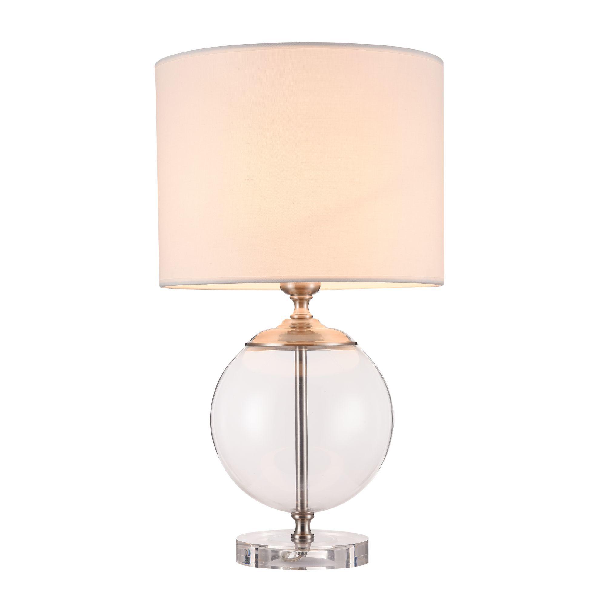 Настольная лампа Maytoni Lowell Z533TL-01N, 1xE27x40W, никель с прозрачным, прозрачный с никелем, бежевый, стекло с металлом, текстиль - фото 2