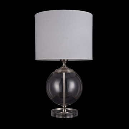 Настольная лампа Maytoni Lowell Z533TL-01N, 1xE27x40W, никель с прозрачным, прозрачный с никелем, бежевый, стекло с металлом, текстиль - миниатюра 3