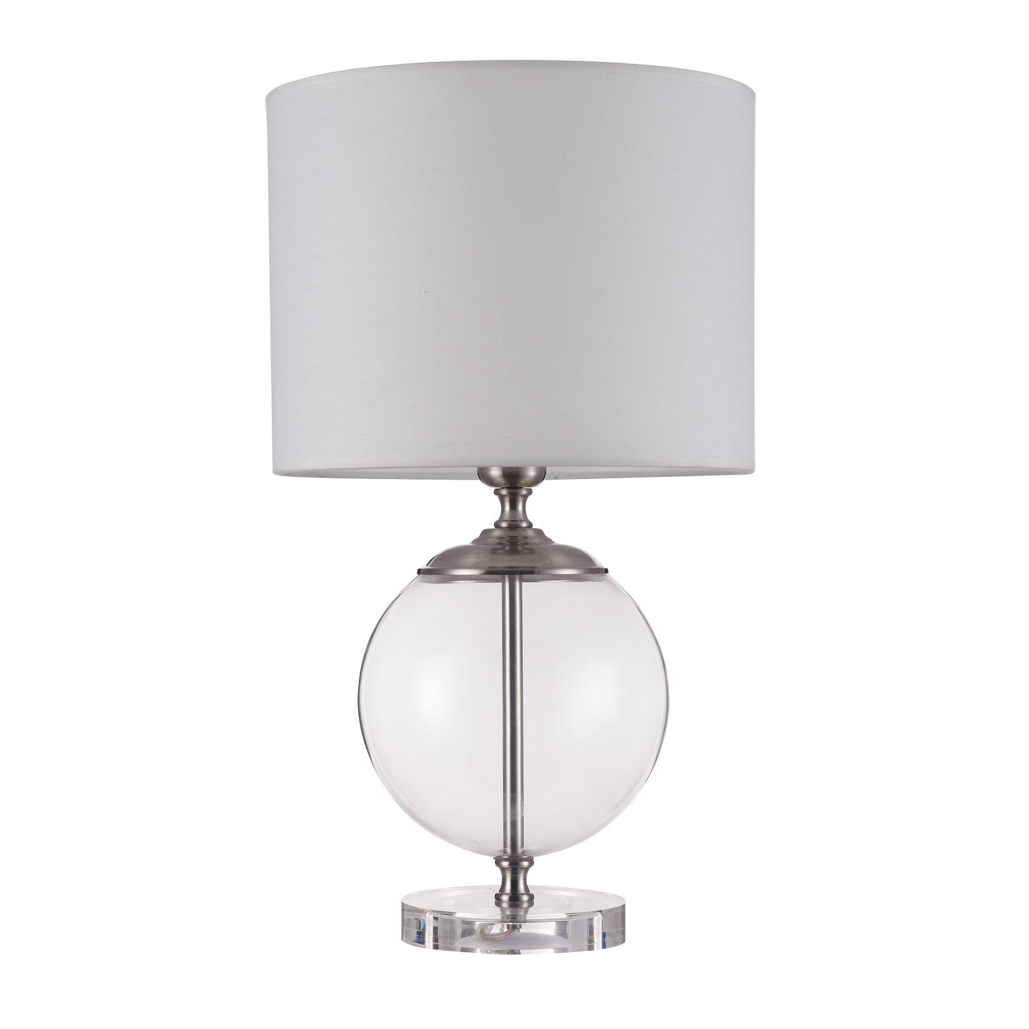 Настольная лампа Maytoni Lowell Z533TL-01N, 1xE27x40W, никель с прозрачным, прозрачный с никелем, бежевый, стекло с металлом, текстиль - фото 3