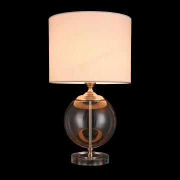 Настольная лампа Maytoni Lowell Z533TL-01N, 1xE27x40W, никель с прозрачным, прозрачный с никелем, бежевый, стекло с металлом, текстиль - миниатюра 4